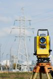 Surveyor equipment at construction site Royalty Free Stock Images