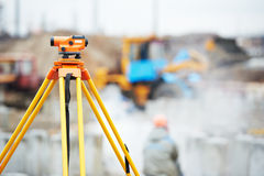 Surveyor equipment optical level outdoors Stock Images