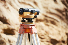 Surveyor equipment optical level outdoors Royalty Free Stock Photography