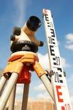 Surveyor equipment outdoors. Surveyor equipmant kit - level and E-bar outdoors Stock Photos