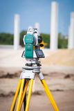 Surveyor equipment tacheometer or theodolite outdoors at construction site Royalty Free Stock Images