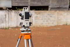 Surveyor equipment tacheometer or theodolite outdoors Royalty Free Stock Photo