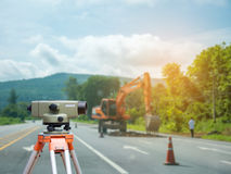 Surveyor equipment tacheometer Royalty Free Stock Photos