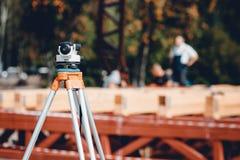 Surveyor equipment tacheometer or theodolite stock photo