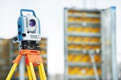 Surveyor equipment theodolie outdoors Stock Photography
