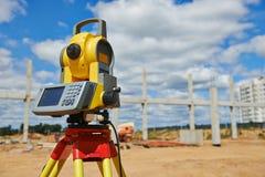 Surveyor equipment theodolie outdoors royalty free stock image