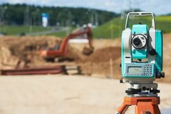 Surveyor equipment theodolie outdoors Royalty Free Stock Photography