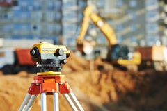 Surveyor equipment theodolie outdoors. Surveyor equipment tacheometer or theodolite outdoors at construction site Royalty Free Stock Image