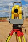 Surveyor equipment theodolie outdoors. Surveyor equipment theodolite outdoors at construction site Stock Images