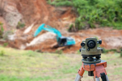 Surveyor equipment theodolite at construction site Stock Image