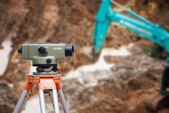 Surveyor equipment theodolite at construction site Royalty Free Stock Photos