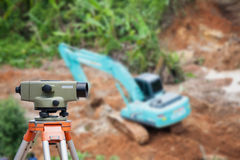 Surveyor equipment theodolite at construction site Stock Photography