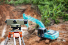 Surveyor equipment theodolite at construction site Stock Photos