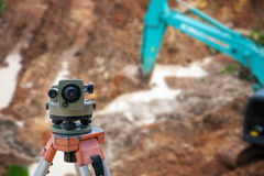 Surveyor equipment theodolite at construction site Stock Image