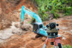 Surveyor equipment theodolite at construction site Royalty Free Stock Images