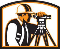 Surveyor Geodetic Engineer Survey Theodolite. Illustration of a surveyor geodetic engineer with theodolite instrument surveying viewed from side done in retro Royalty Free Stock Images