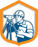 Surveyor Geodetic Engineer Survey Theodolite Shield Retro. Illustration of a surveyor geodetic engineer with theodolite instrument surveying viewed from side set Stock Photography