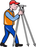 Surveyor Geodetic Engineer Theodolite  Cartoon. Illustration of a surveyor geodetic engineer looking through theodolite instrument surveying viewed from side set Stock Image