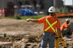 Surveyor giving directions royalty free stock photo