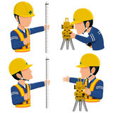 Surveyor icon. Info graphic of two workers are surveying  on transparent background Stock Photos