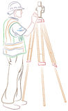 Surveyor measuring land. Isolated brush stroke illustration Stock Photography