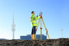 Surveyor in Munich on hill Royalty Free Stock Photo