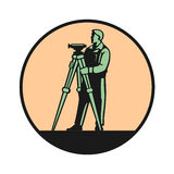 Surveyor. In the round frame logo Stock Image
