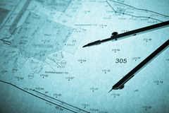 Surveyor's plan and circle with backlight Stock Image