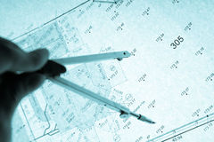 Surveyor's plan and circle with backlight Royalty Free Stock Photo