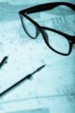 Surveyor's plan, circle and retro glasses Stock Photography