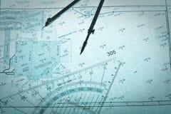 Surveyor's plan, circle and set square Royalty Free Stock Images