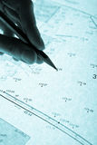 Surveyor's plan and pencil with backlight Stock Photo