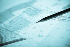Surveyor's plan, pencil and set square Stock Photos