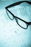 Surveyor's plan and retro glasses with backlight Stock Photos