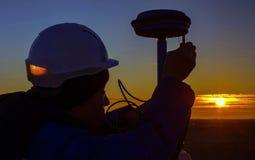 Surveyor. Sets of GPS equipment Betpakdala steppe stock images