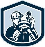 Surveyor Surveying Theodolite Shield Retro Stock Photography