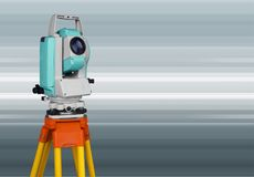 Surveyor. Land theodolite measuring road global positioning system tacheometer royalty free illustration