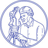 Surveyor Theodolite Circle Mono Line. Mono line style illustration of a surveyor geodetic engineer with theodolite instrument surveying viewed from side set Royalty Free Stock Photo