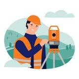 Surveyor and theodolite. Geodetic works. Cadastral engineer. royalty free illustration