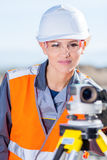 Surveyor with theodolite level. Surveyor engineer worker making measuring with theodolite equipment Stock Photos