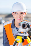 Surveyor with theodolite level. Surveyor engineer worker making measuring with theodolite equipment Royalty Free Stock Photography