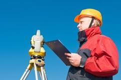 Surveyor theodolite worker Royalty Free Stock Images