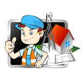 Surveyor with a tool. For business illustration Royalty Free Stock Photography