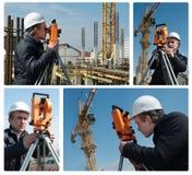 Surveyor with transit level Royalty Free Stock Photography