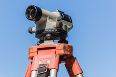 Surveyor Tripod Automatic Level Lens Blue Stock Photography