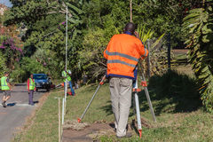 Surveyor Tripod Road Improvements Stock Image