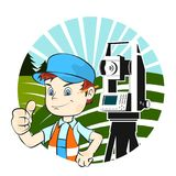 Surveyor and geodesic device. Surveyor in uniform and geodetic device Stock Image