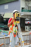 Surveyor using survey equipment at the construction site Royalty Free Stock Photo