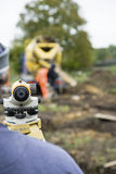 Surveyor using Theodolite on site stock photo