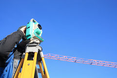 Surveyor at work Royalty Free Stock Image